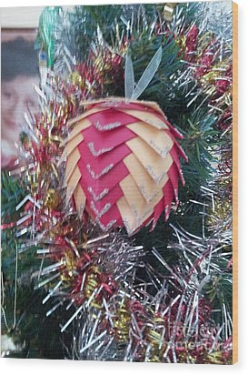Christmas Baubles Wood Print by Debra Piro