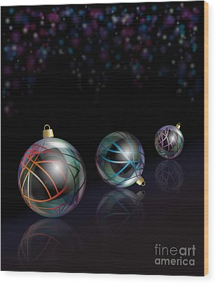 Christmas Baubles Reflected Wood Print by Jane Rix