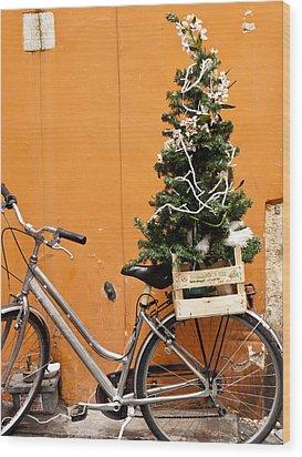 Christmas Bicycle Wood Print by Rae Tucker