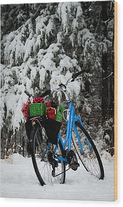 Christmas Bike Wood Print by Wayne Meyer