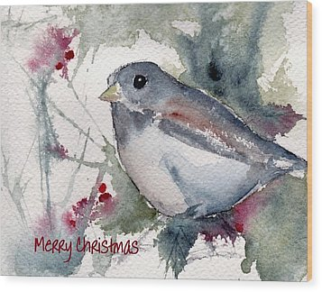 Wood Print featuring the painting Christmas Birds 01 by Anne Duke