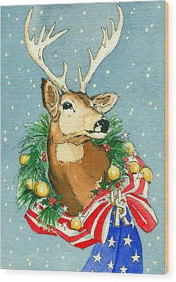 Wood Print featuring the painting Christmas Buck by Katherine Miller