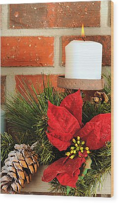 Christmas Candle Wood Print by Kenneth Sponsler