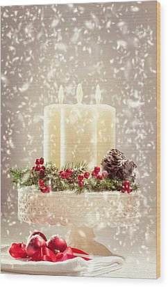 Christmas Candles Wood Print by Amanda Elwell