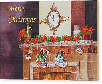 Christmas Card Wood Print by Irina Sztukowski