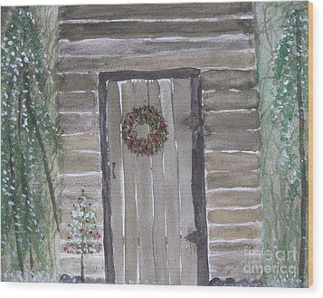 Christmas Card No.3 Rustic Cabin Wood Print