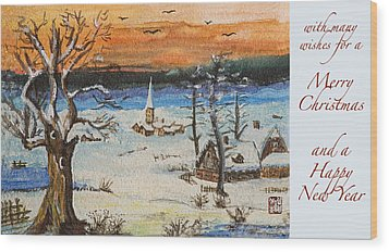 Wood Print featuring the painting Christmas Card Painting by Peter v Quenter