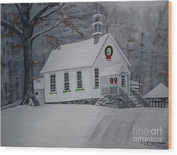 Wood Print featuring the painting Christmas Card - Snow - Gates Chapel by Jan Dappen