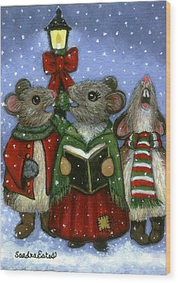 Christmas Caroler Mice Wood Print