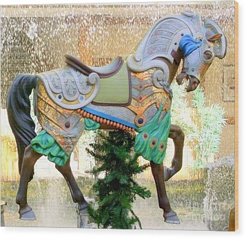 Christmas Carousel Warrior Horse-1 Wood Print by Mary Deal