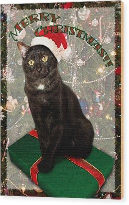 Christmas Cat Wood Print by Adam Romanowicz