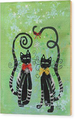 Wood Print featuring the digital art Christmas Cats by Arline Wagner