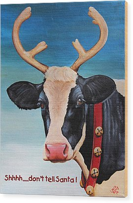 Christmas Cow Wood Print