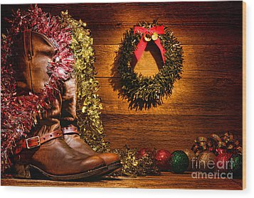 Christmas Cowboy Boots Wood Print by Olivier Le Queinec