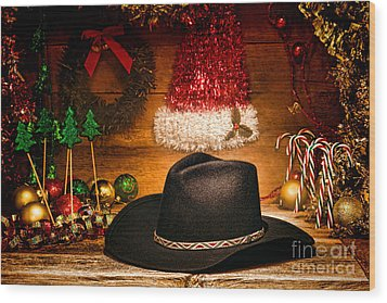 Christmas Cowboy Hat Wood Print by Olivier Le Queinec