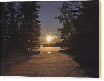 Christmas Day Sunset Wood Print by RJ Martens