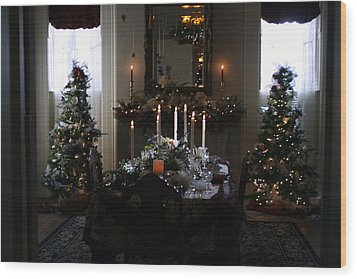 Christmas Dinner At The Mansion Wood Print by Kay Novy