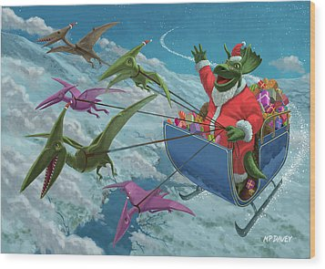 Christmas Dinosaur Santa Ride Wood Print by Martin Davey