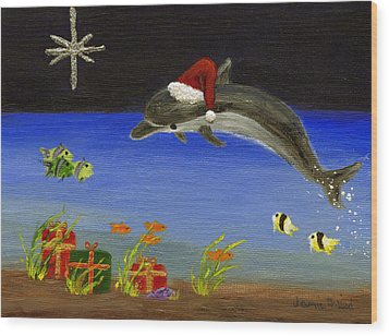 Christmas Dolphin And Friends Wood Print by Jamie Frier