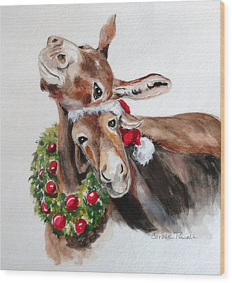 Christmas Donkeys Wood Print by Carole Powell