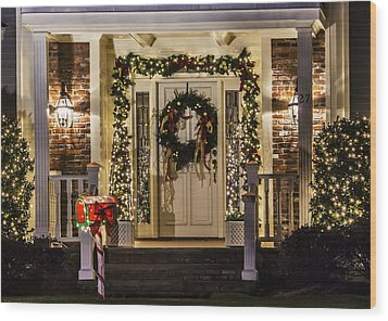 Wood Print featuring the photograph Christmas Door 1 by Betty Denise