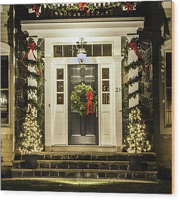 Wood Print featuring the photograph Christmas Door 2 by Betty Denise