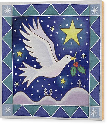 Christmas Dove  Wood Print by Cathy Baxter
