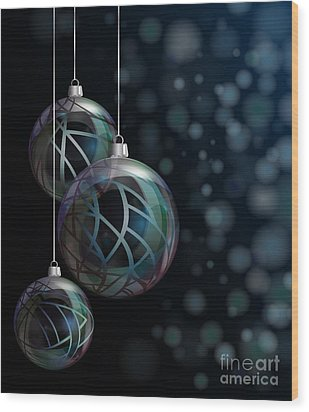 Christmas Elegant Glass Baubles Wood Print by Jane Rix