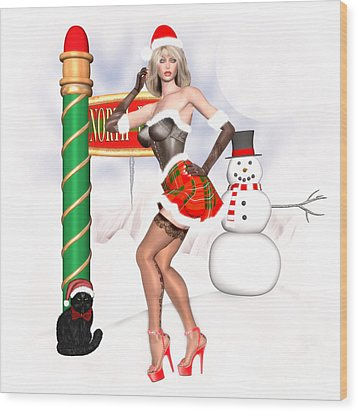 Christmas Elf Cleo Wood Print