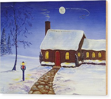 Wood Print featuring the painting Christmas Eve by Lee Piper