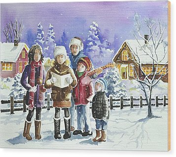 Christmas Family Caroling Wood Print