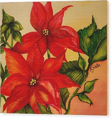Christmas Flowers Wood Print
