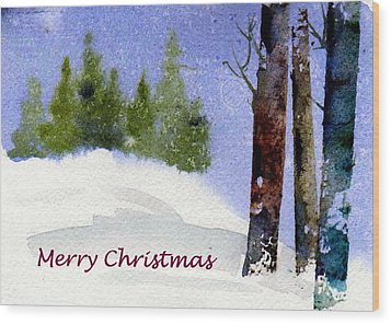 Wood Print featuring the painting Christmas Forest 02 by Anne Duke