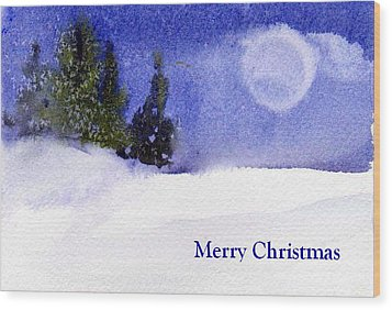 Wood Print featuring the painting Christmas Forest  03 by Anne Duke