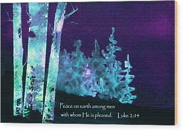 Wood Print featuring the painting Christmas Forest by Anne Duke