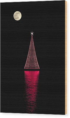 Christmas Full Moon Wood Print
