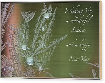 Wood Print featuring the mixed media Christmas Greeting Card Ice Flowers by Peter v Quenter