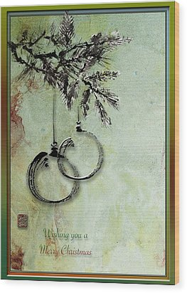 Wood Print featuring the painting Christmas Greeting Card With Ink Brush Drawing by Peter v Quenter