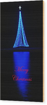 Christmas In Blue Wood Print