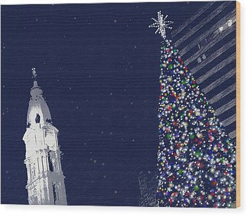 Wood Print featuring the photograph Christmas In Center City by Photographic Arts And Design Studio