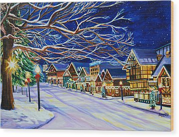 Christmas In Leavenworth Wood Print by Suzanne King