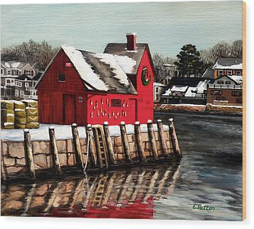 Christmas In Rockport Wood Print