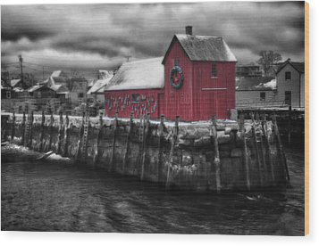 Christmas In Rockport New England Wood Print