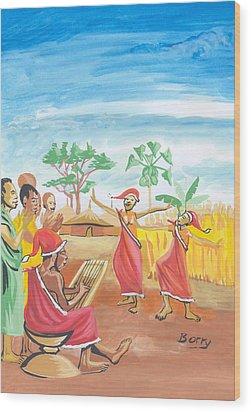 Wood Print featuring the painting Christmas In Rwanda by Emmanuel Baliyanga
