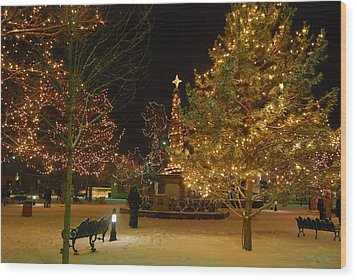 Christmas In Santa Fe Wood Print by Carolyn Dalessandro