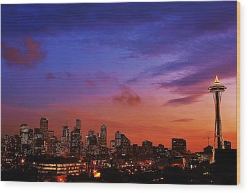 Christmas In Seattle Wood Print by Benjamin Yeager