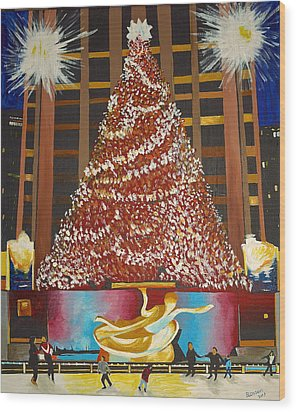 Christmas In The City Wood Print by Donna Blossom