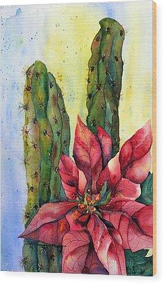Christmas In The Desert Wood Print