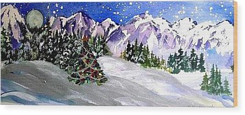 Christmas In The Mountains Wood Print