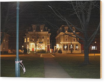 Christmas In Town Wood Print by Catie Canetti